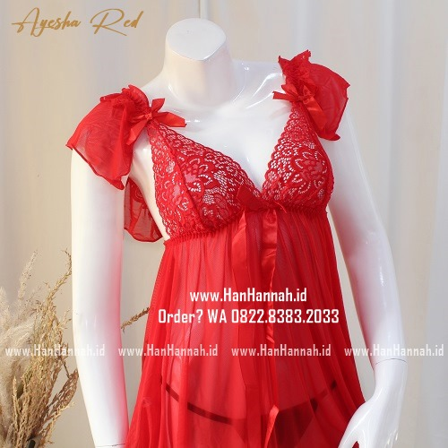 Premium M-XXXL AYESHA Red Sleepwear Set