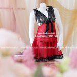 Premium S-XL, Red VNeck Sleepwear Set