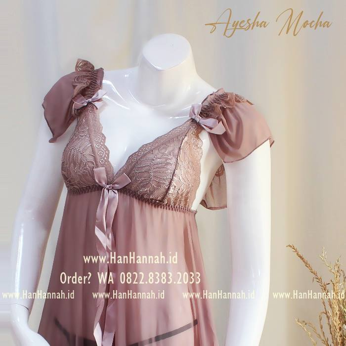 Premium M-XXXL, AYESHA Mocha Sleepwear Set