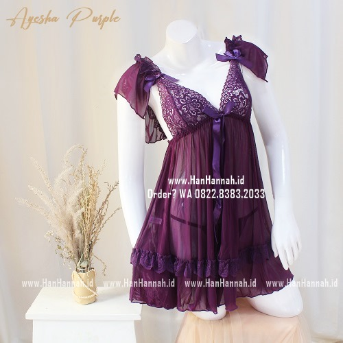 Premium M-XXXL AYESHA Purple Sleepwear Set