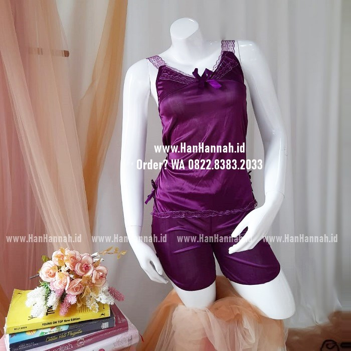 Lingerie Cantik S-M, SILK PURPLE Sleepwear Set