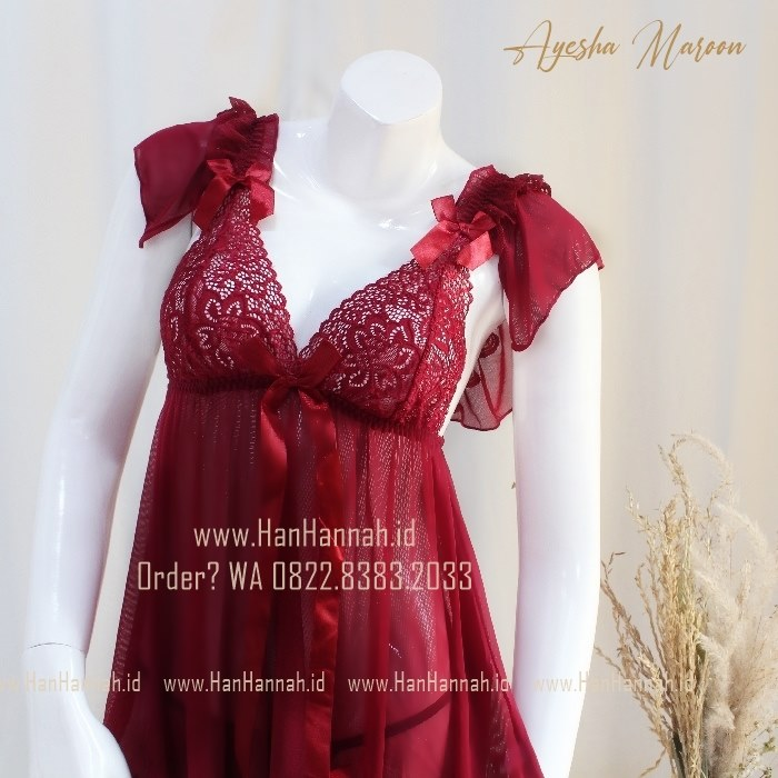 Premium M-XXXL AYESHA Maroon Sleepwear Set