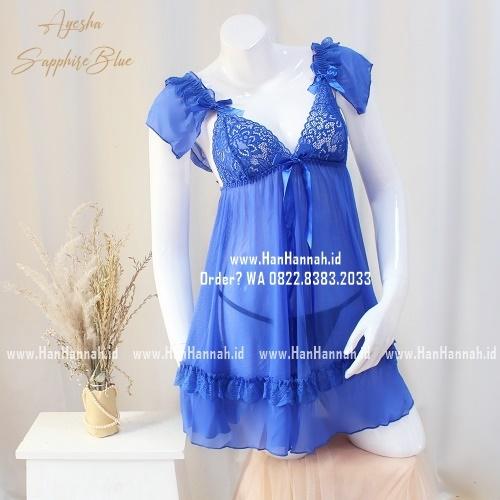Premium M-XXXL AYESHA SapphireBlue Sleepwear Set