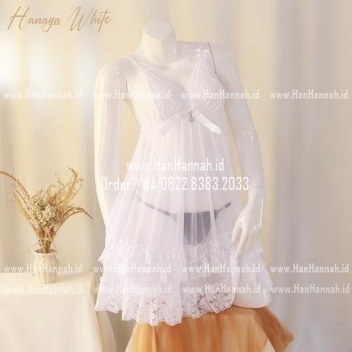 Premium M-XXXL HANAYA White Sleepwear Set