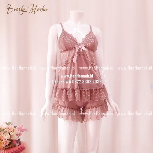 Lingerie S-XL, EVERLY Mocha Sleepwear Set